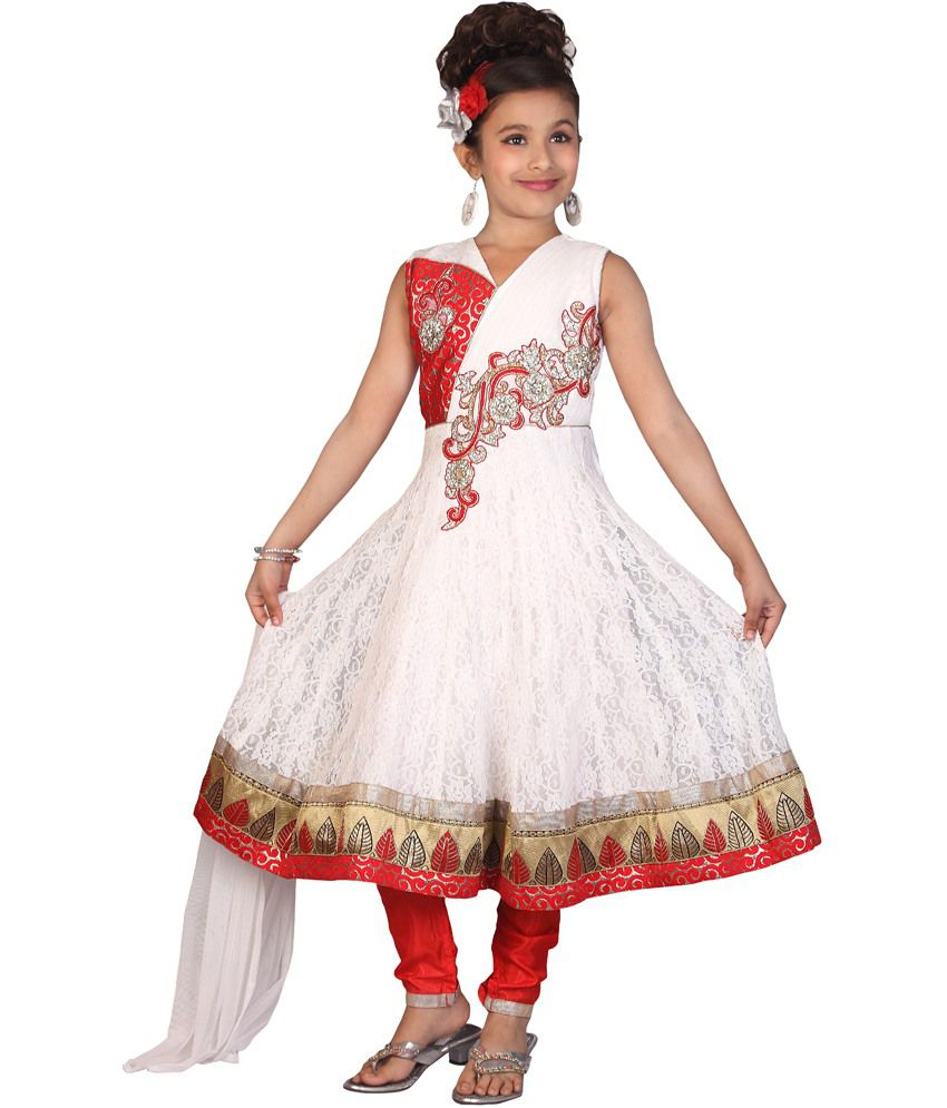 Gee & Bee Cream Mesh Sleeveless Salwar Suit