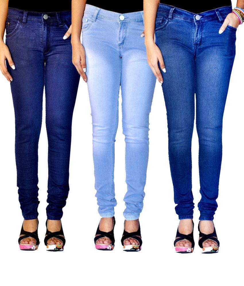Haltung Faded Multi Color Women Denim Lycra Skinny Fit Jeans Combo