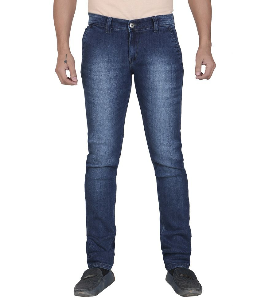 Tyson Blue Cotton Blend Slim Fit Jeans