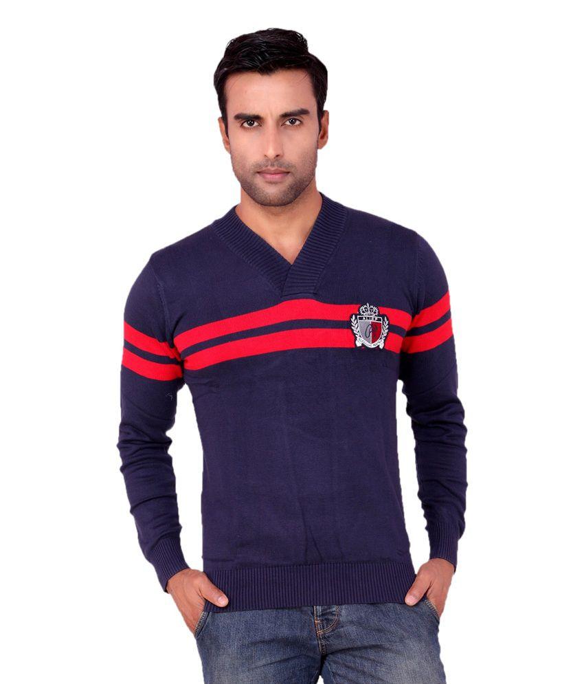 Aliep Blue Cotton V-neck Full Sleeves T-shirt