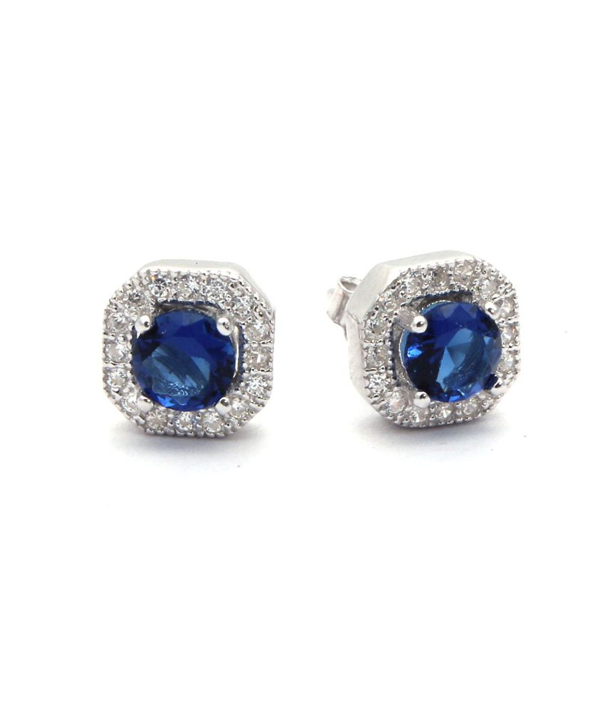 Bl Silver Sterling Silver Cz Studs With Blue Color Stone