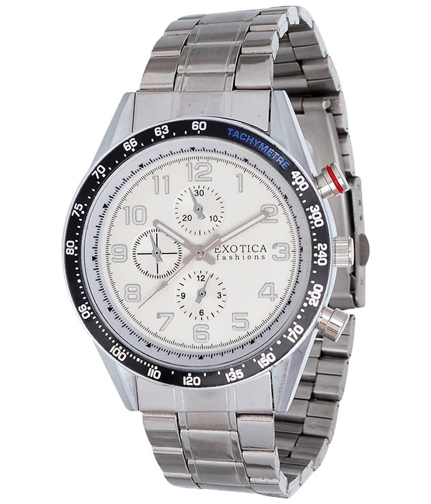Exotica Fashions Exotica White & Silver Analogue Wrist Watch For Men