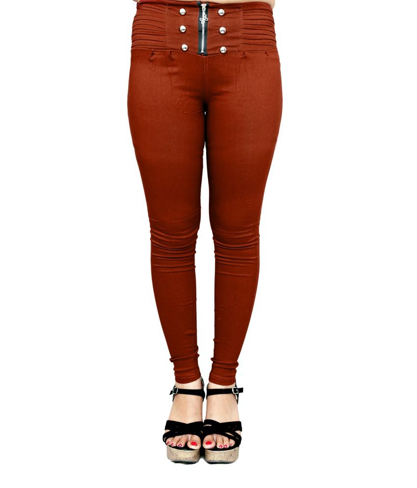 Madaam Brown Cotton Lycra Jeggings