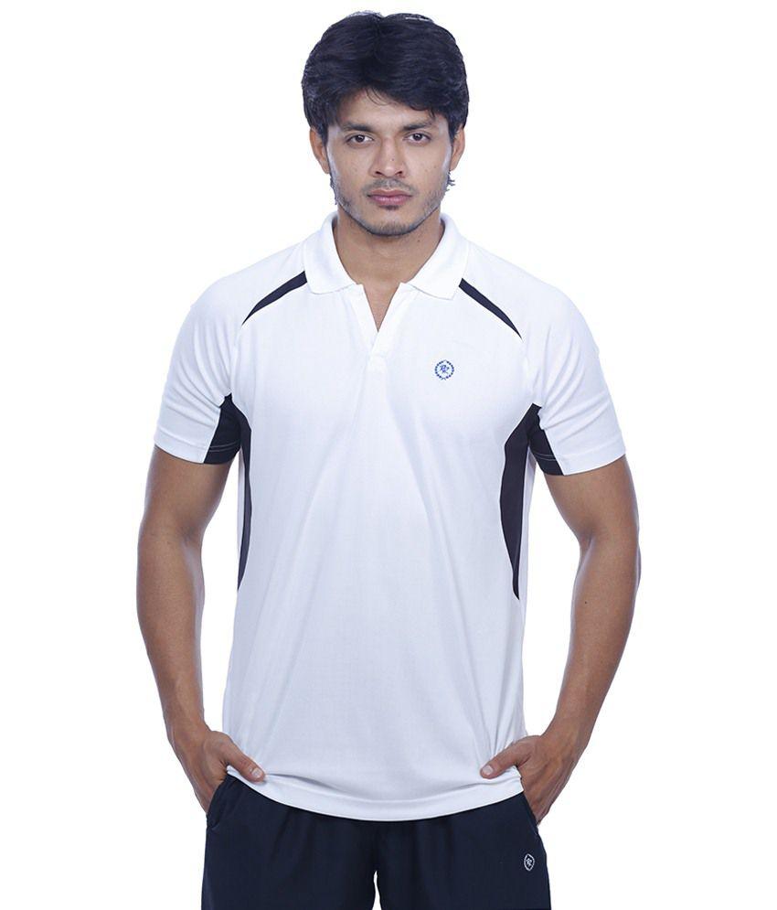 Rr White Polyester Half Sleeve T-shirt For Men