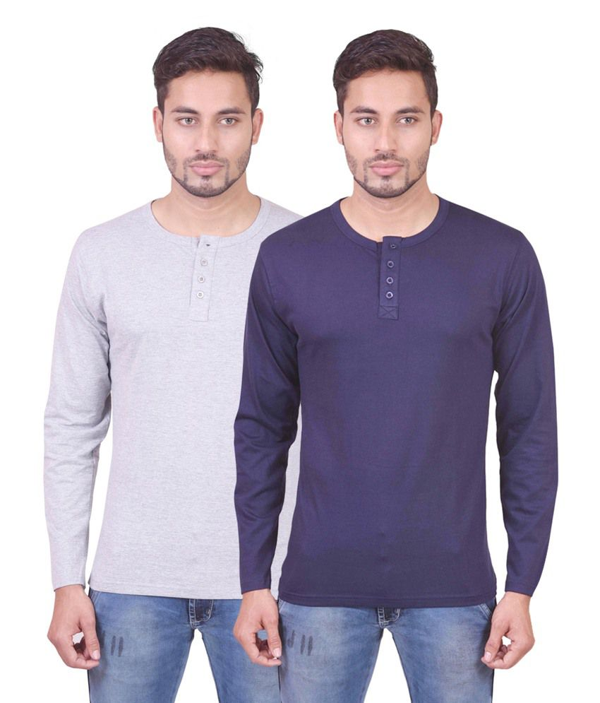Indiemonk Multicolor Cotton Henley Basics Full Sleeves T Shirt - Pack Of 2