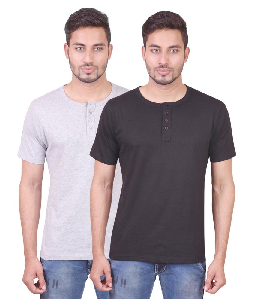 Indiemonk Multicolor Cotton Henley Basics Half Sleeves T Shirt - Pack Of 2