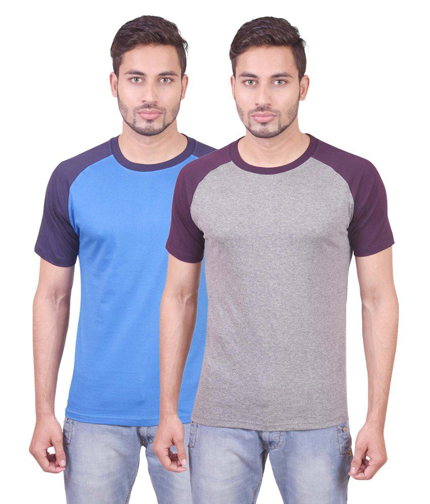 Indiemonk Multicolor Cotton Round Neck Basics Half Sleeves T Shirt - Pack Of 2