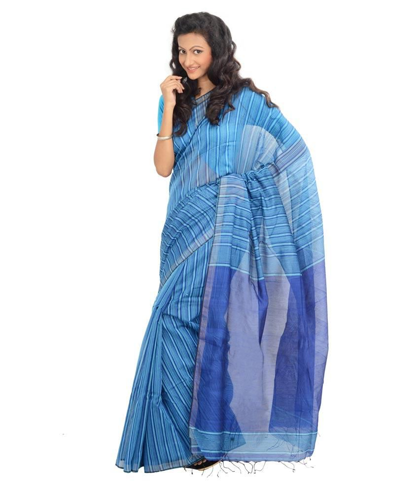 Ipsha Handcrafted Textiles Blue Cotton Silk Bengal Tant Saree