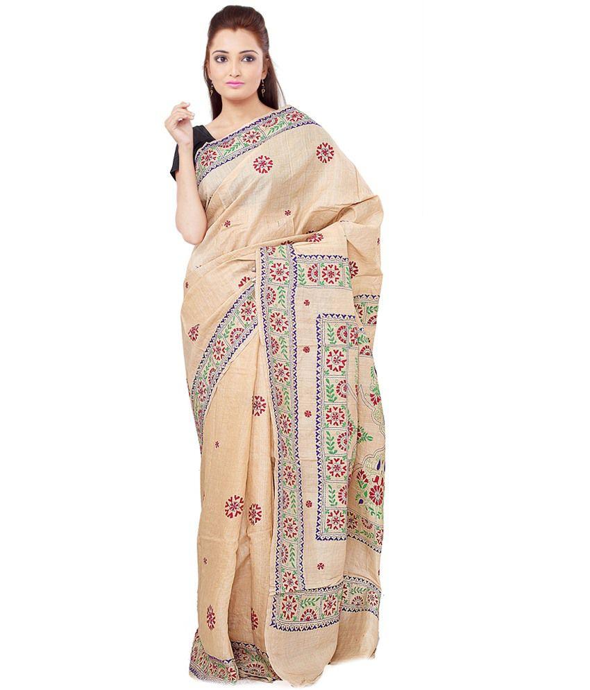 Jharcraft Beige Tussar Silk Saree