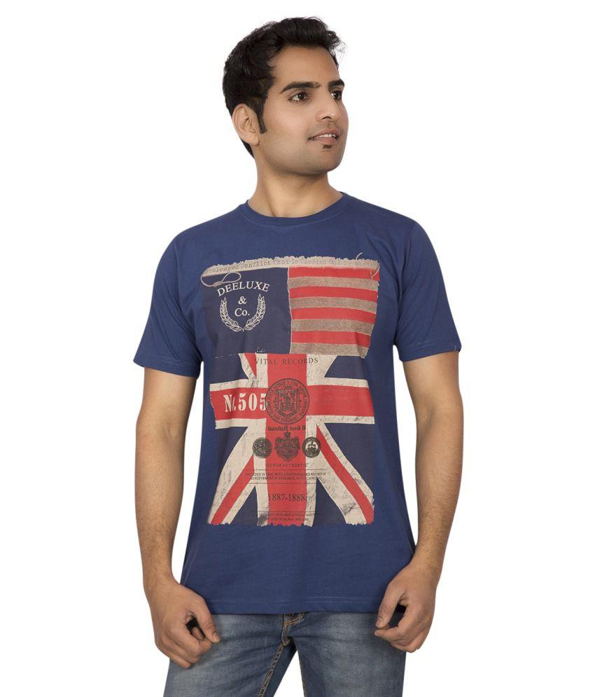 Le Bon Ton 1225 Cotton Navy Blue Round Neck Printed T-shirt