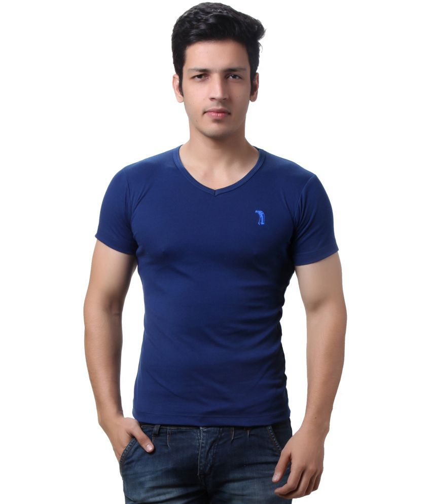Teemoods Blue Cotton V-neck Half Sleeves T-shirt