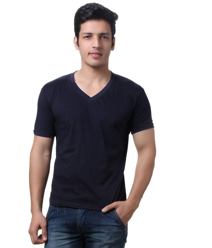 Teemoods Navy Cotton V-neck Half Sleeves T-shirt