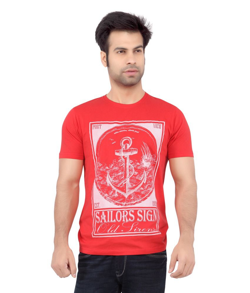 Cod jeans red printed cotton half sleeves t shirt for men for Denim half sleeve shirt
