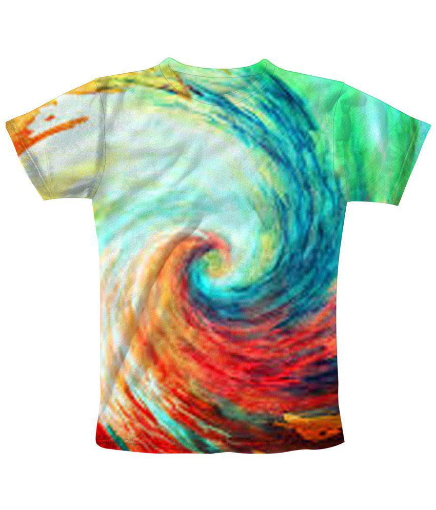 Freecultr Express Attractive Multicolour Whirlpool Printed T Shirt