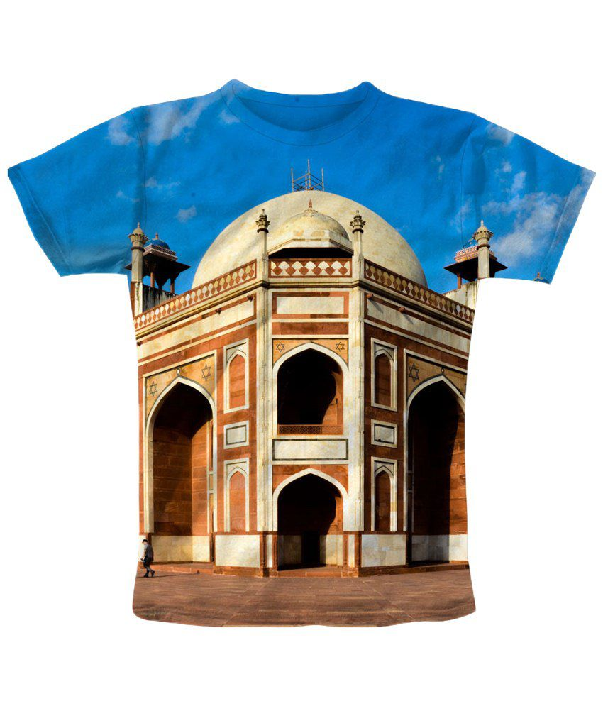 Freecultr Express Beige & Blue Hit Graphic Half Sleeves T Shirt