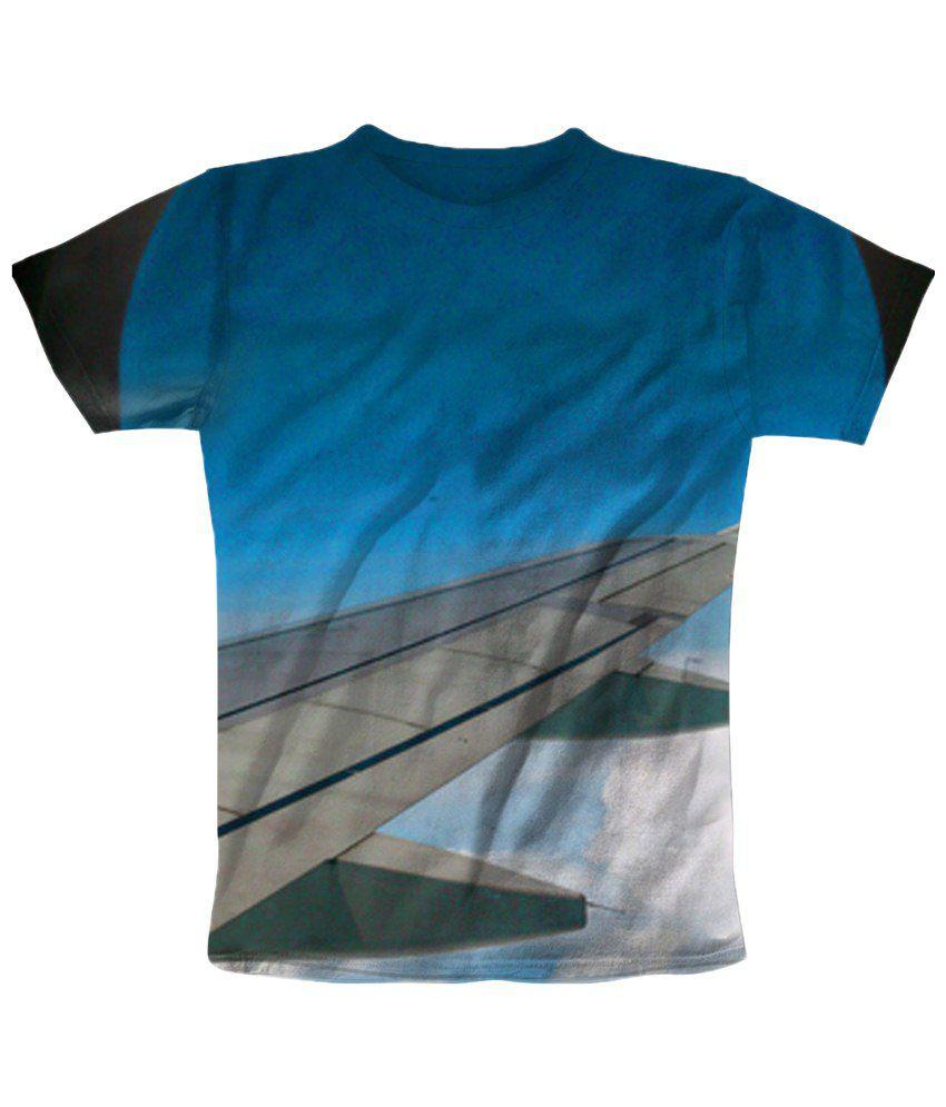Freecultr Express Blue & Gray Printed T Shirt
