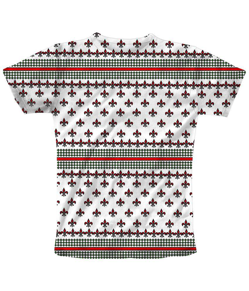Freecultr Express Breath Taking White & Red Pattern Printed T Shirt