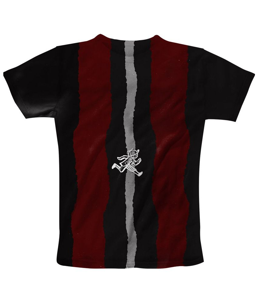 Freecultr Express Fine Black & Maroon Run Printed T Shirt