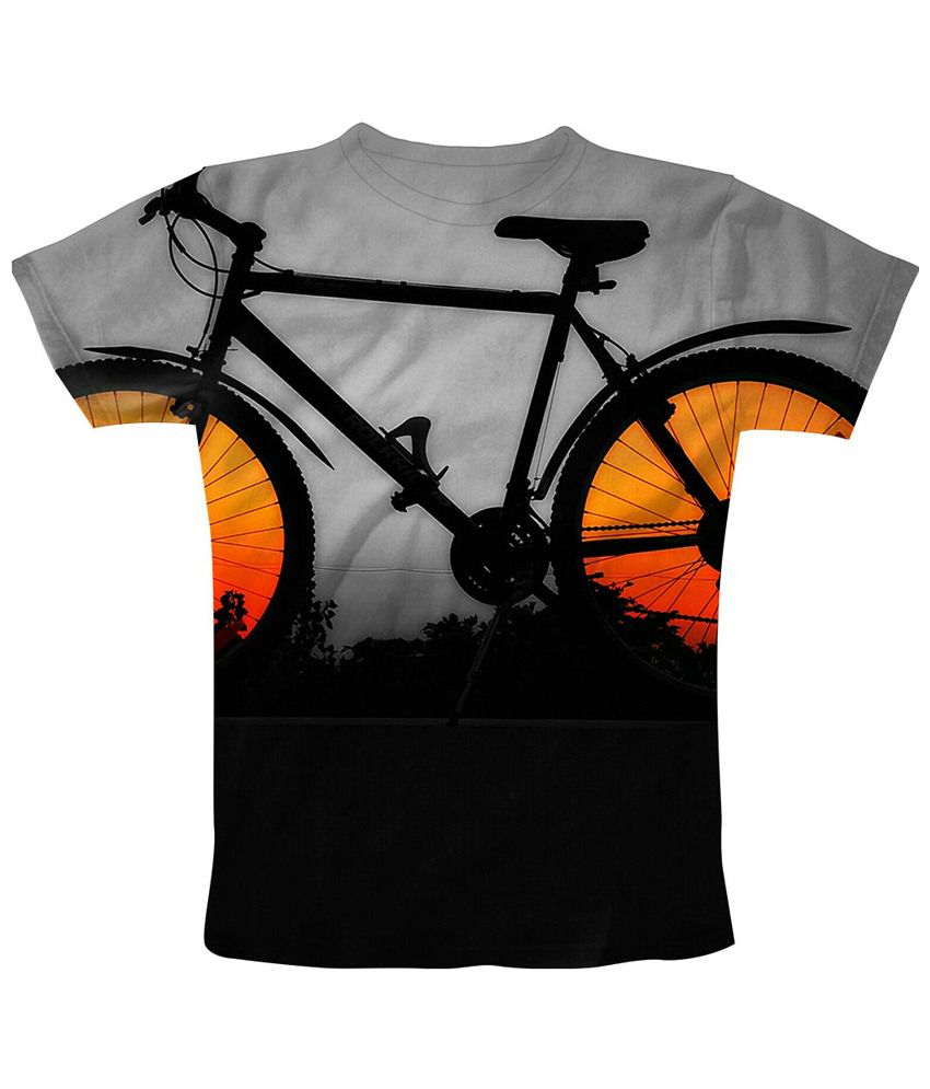 Freecultr Express Gray & Black Bike Light Graphic Half Sleeves T Shirt