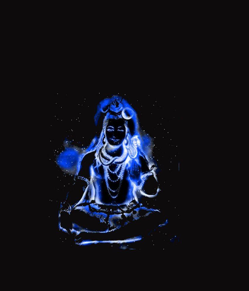 Black t shirt express -  Freecultr Express Impressive Black Blue Shiva Printed T Shirt