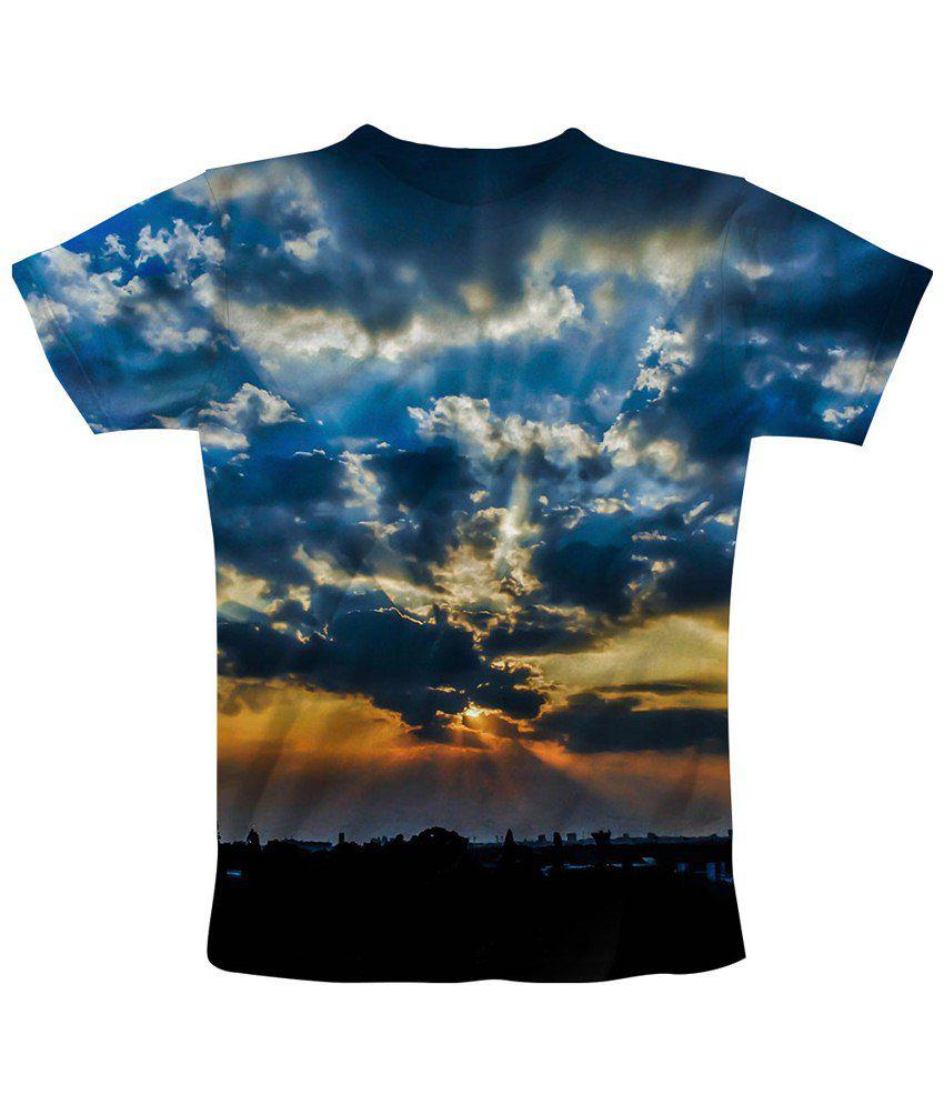 Freecultr Express Impressive Blue & Black Sky Light Printed T Shirt