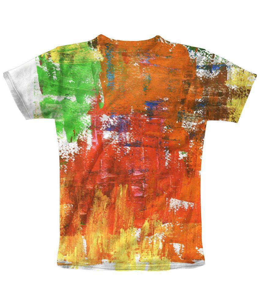 Freecultr Express Impressive Orange & Green Merge Printed T Shirt