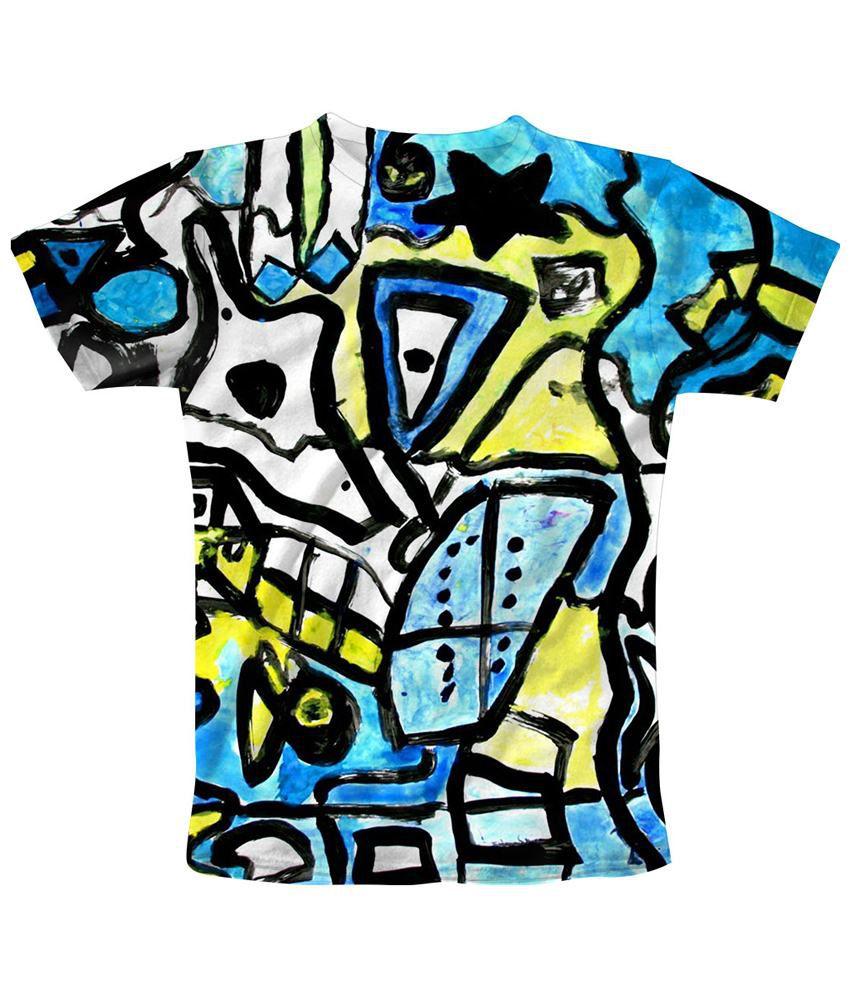 Freecultr Express Stunning Blue & Yellow Juxtapose Printed T Shirt