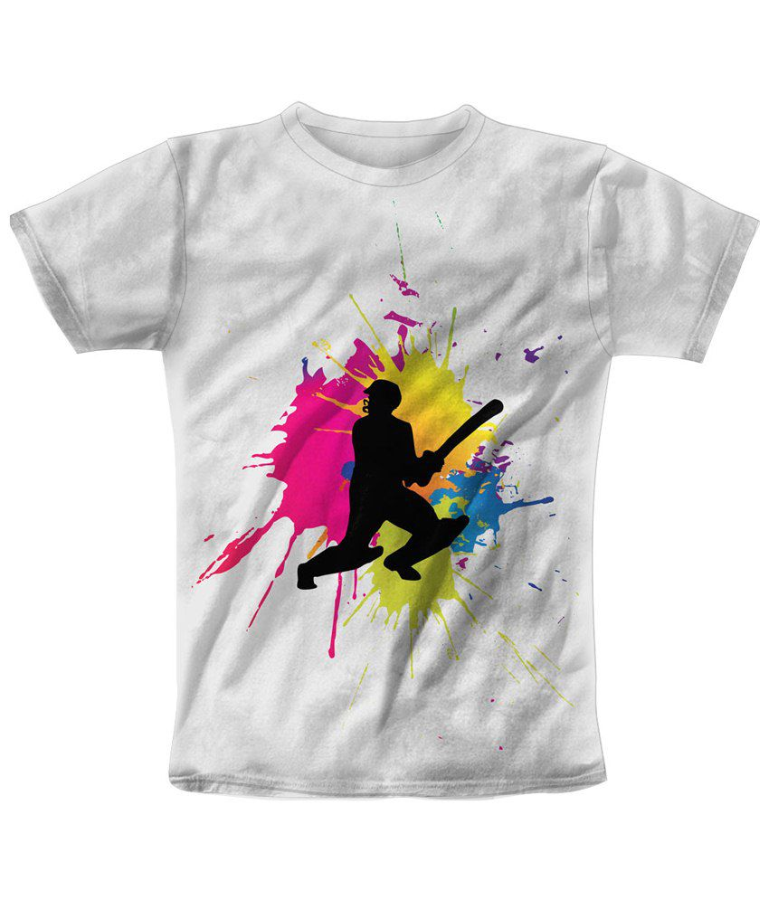 Freecultr Express White & Black Splash Play Graphic Half Sleeves T Shirt