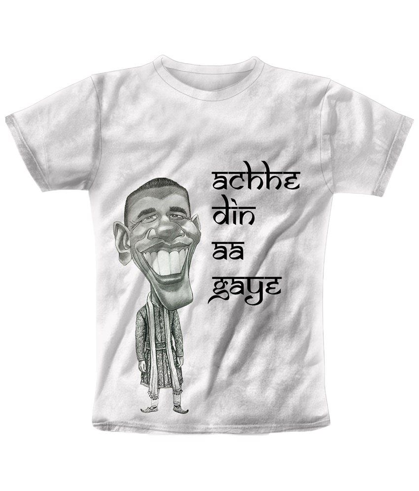 Freecultr Express White & Gray Aache Din Graphic T Shirt