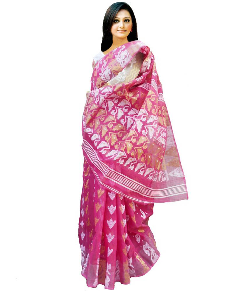 be39a1a23f Handloom Tant Saree Pink Cotton Bengal Tant Saree - Buy Handloom Tant Saree  Pink Cotton Bengal Tant Saree Online at Low Price - Snapdeal.com