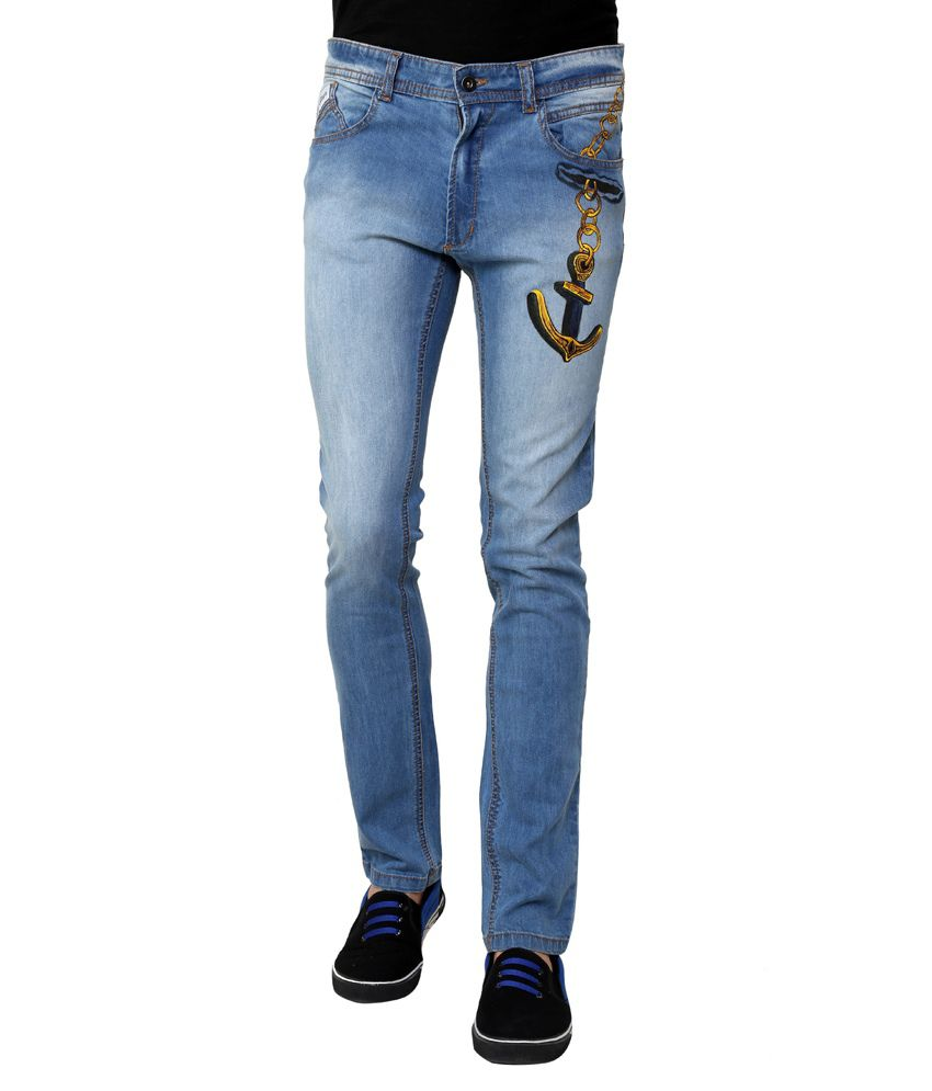 Rang Rage - Jeans - Hand-painted Jeans - Hand-painted Golden Anchor Jeans