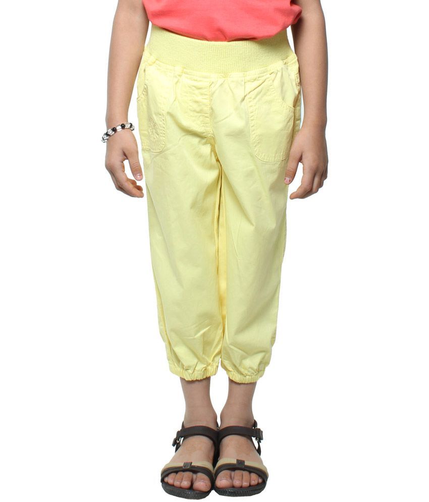 Stop By Shoppers Stop Playwear Girls Yellow Woven Capri