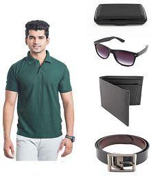 KeepSake Combo Of Bottle Green T-Shirt , Wallet , Belt ,Wayfarer Sunglasses And Cardholder