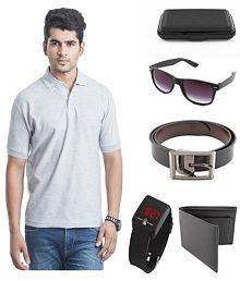 KeepSake Combo Of Grey T-Shirt , Wallet , Belt , Watch ,Wayfarer Sunglasses And Cardholder