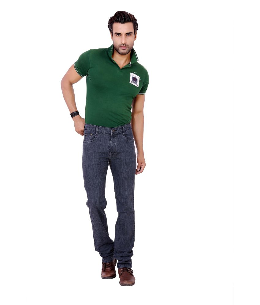 Awack Black Cotton Straight Fit Jeans