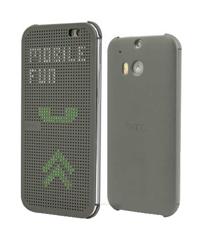 new product 9fbde 5867e EloKart Synthetic Dot View Flip Cover For HTC One M8 / M8 Eye - Gray