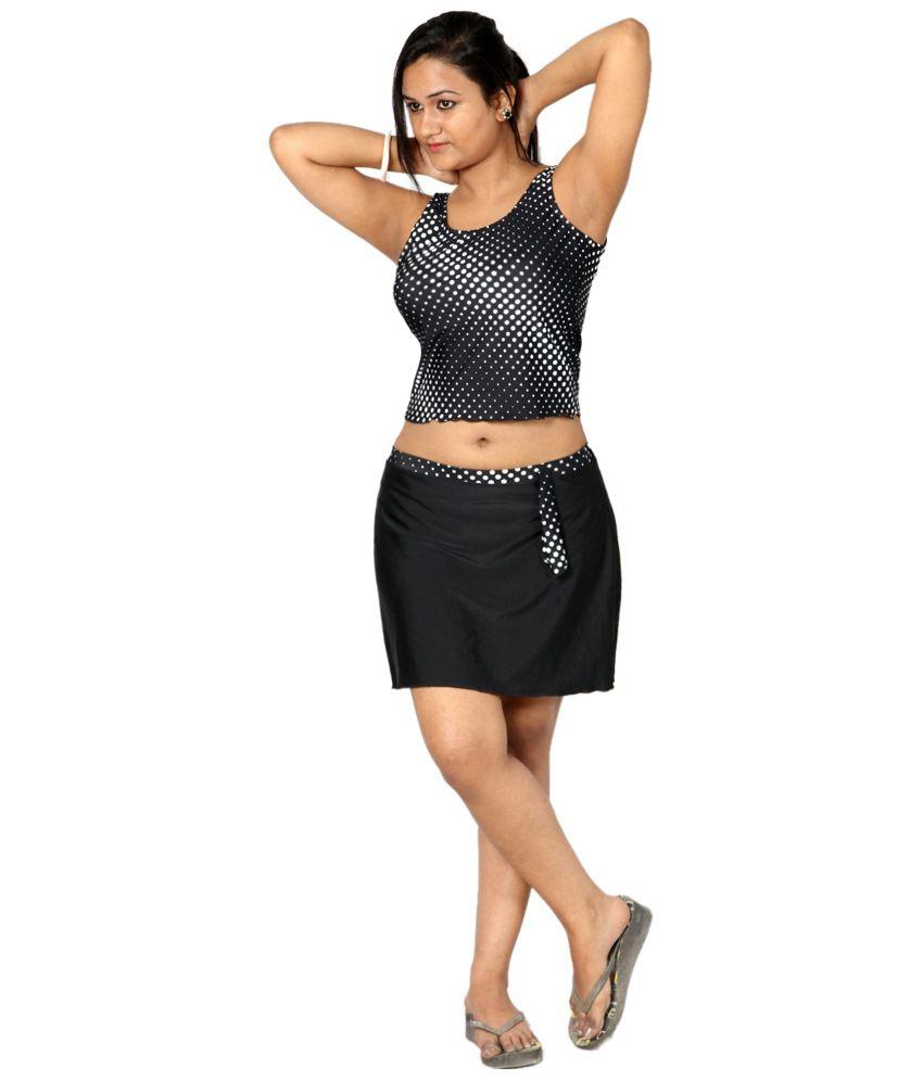 Indraprastha Black & White Polka Dotted Tankini Swimsuit