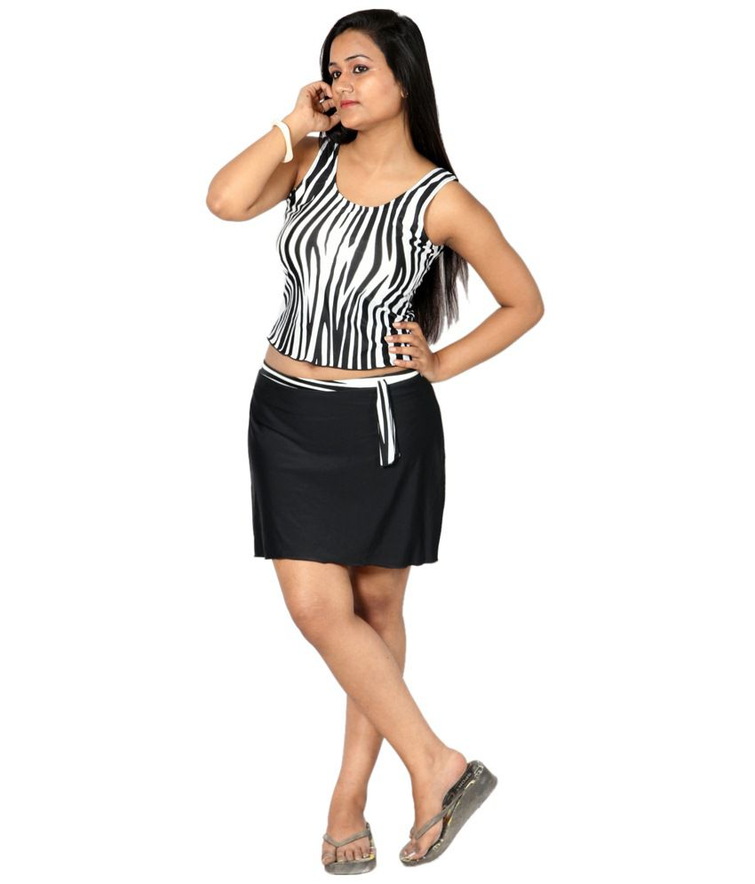 Indraprastha Black & White Printed Tankini Swimsuit/ Swimming Costume