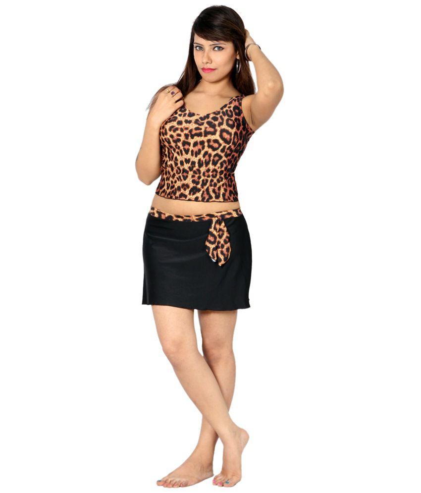 Indraprastha Brown & Black Leopard Print Tankini Swimsuit/ Swimming Costume