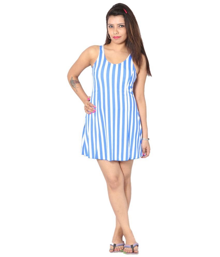 Indraprastha White & Blue Vertical Striped Swimsuit/ Swimming Costume