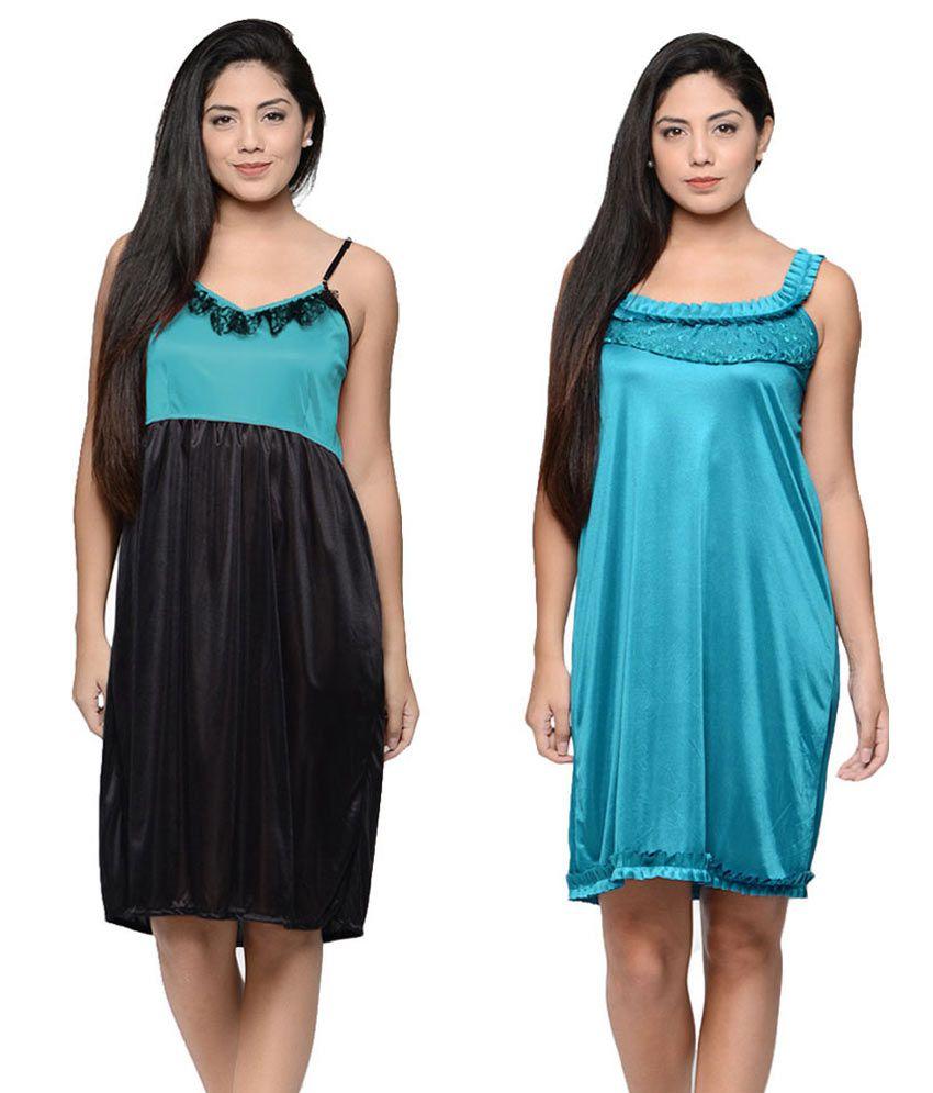 Combo of 2-Klamotten Multi Color Satin Baby Doll Dresses