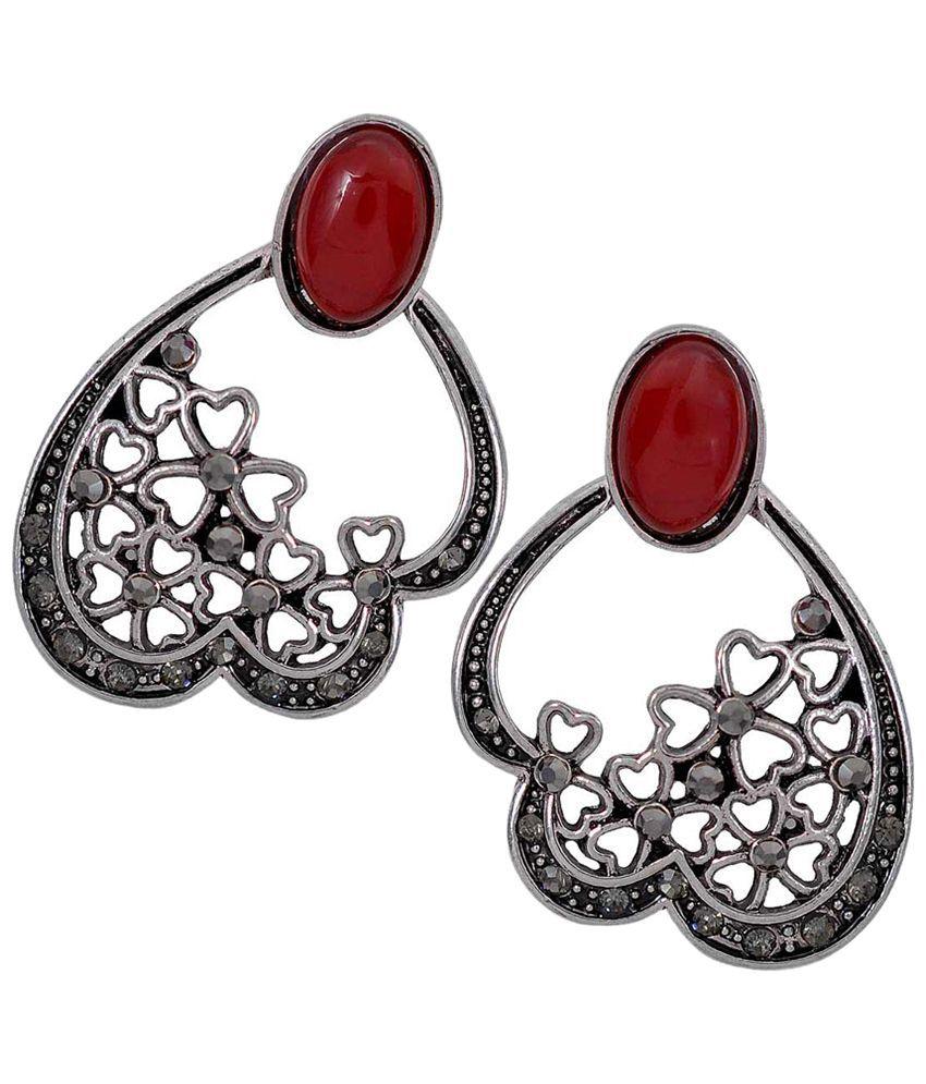 Maayra Modern Maroon & Silver Designer Hanging Earrings