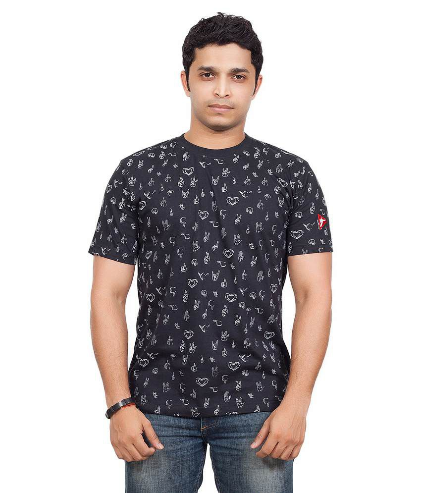 Radical Clothing Handsigns Men'S Cotton T Shirt-Black