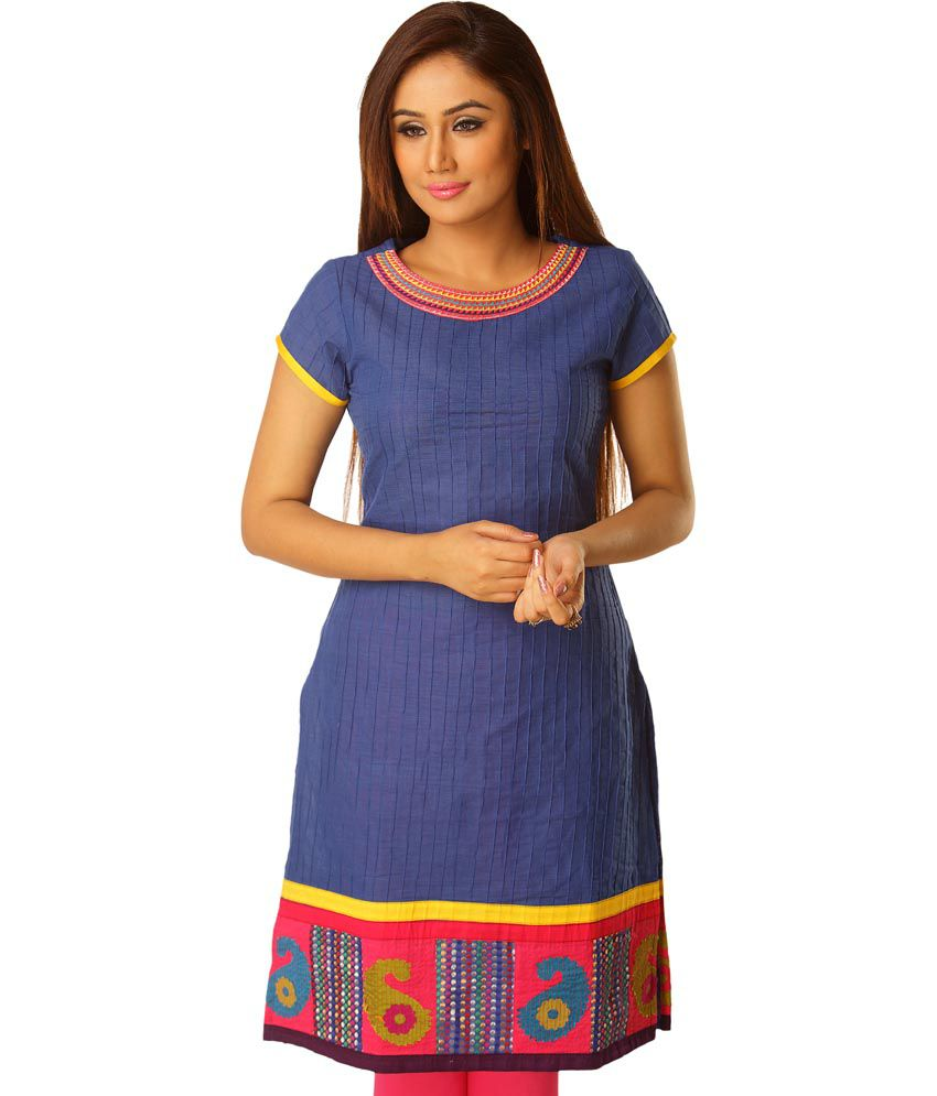 Saffron Threads Blue Embroidered Cotton Half Sleeves Long Kurti