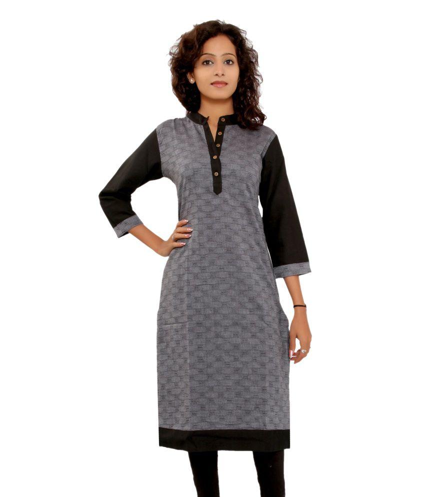Shopping Rajasthan Black Cotton Long Chinese Collar Kurti