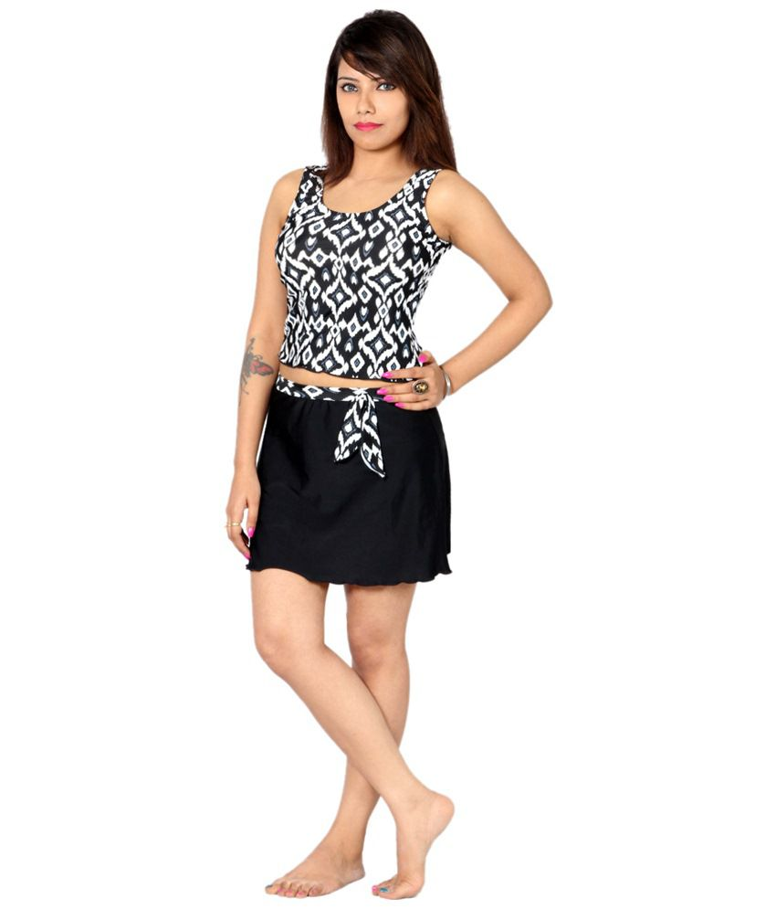 Indraprastha White & Black Tankini Swimsuit/ Swimming Costume