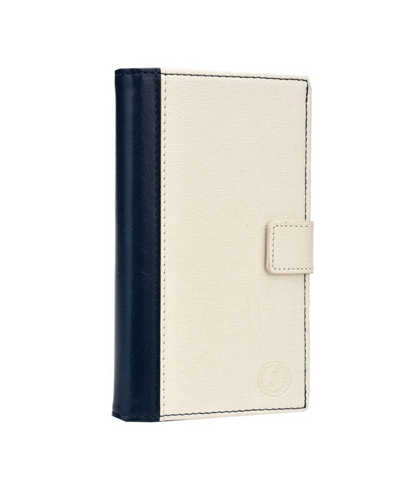 Jo Jo Leather Flip Case For Celkon Q455 Dark - Blue & White