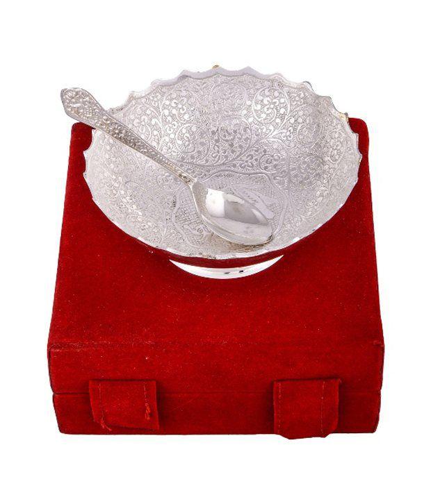 RAJLAXMI Silver Plated 5 inch Hathi Bowl With Spoon