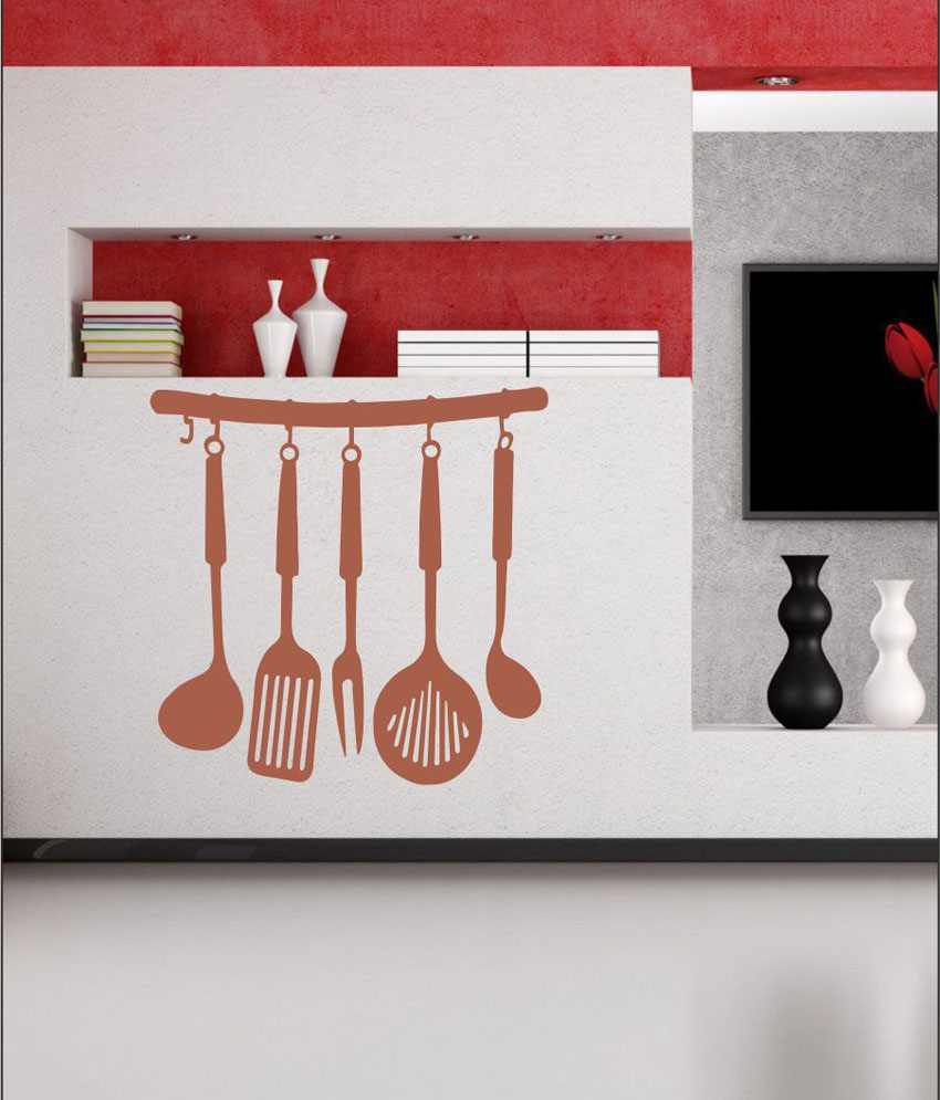Wall1ders kitchen set brown stickers mega buy for Kitchen set 7 in 1
