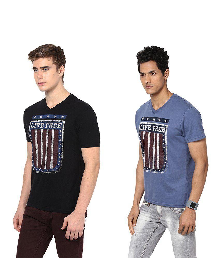 Monteil & Munero Blue And Black Half Sleeves T Shirt Pack Of 2